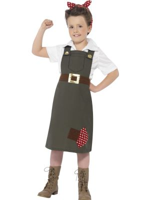 Girls Fancy Dress | World War II Munitions Factory Worker Costume